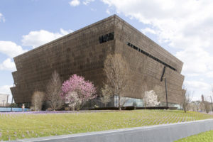 Trees and flowers bloom outside the National Museum of African American History and Culture construction site in this March 18, 2016 file photo. (Courtesy Smithsonian Institution /Michael R. Barnes)