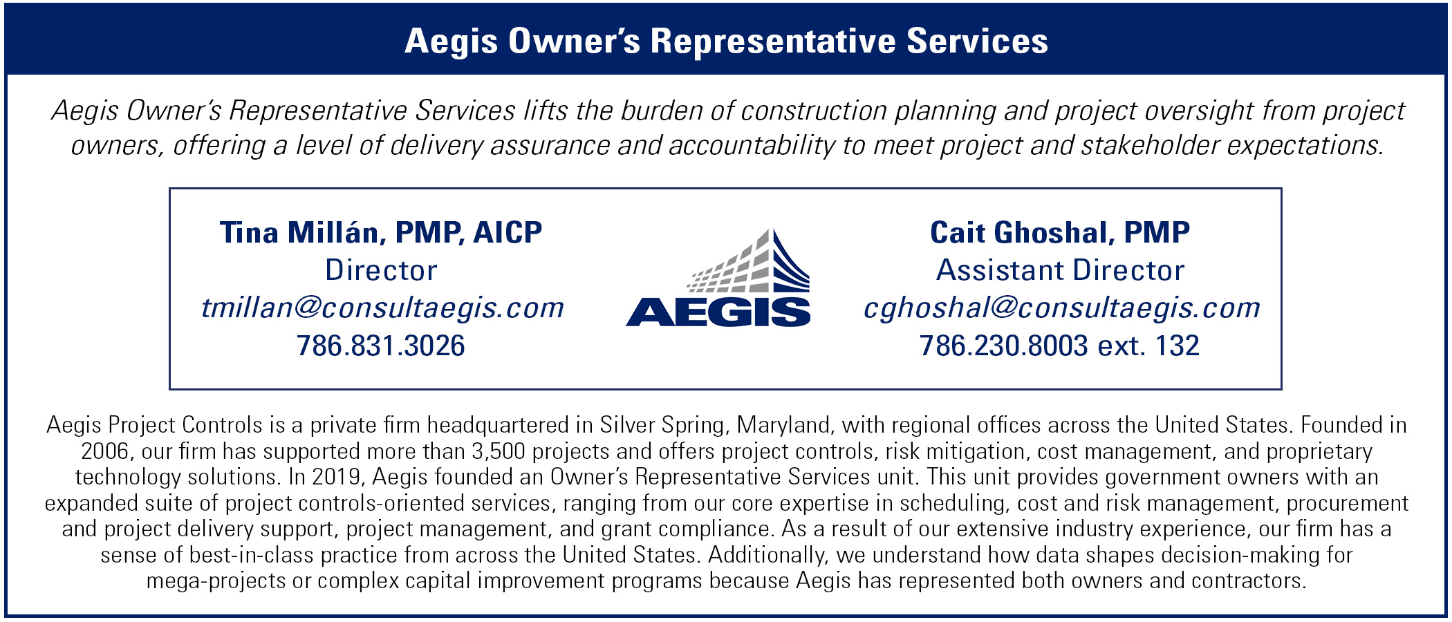 Contact info for Aegis' Owner's Representative Services group