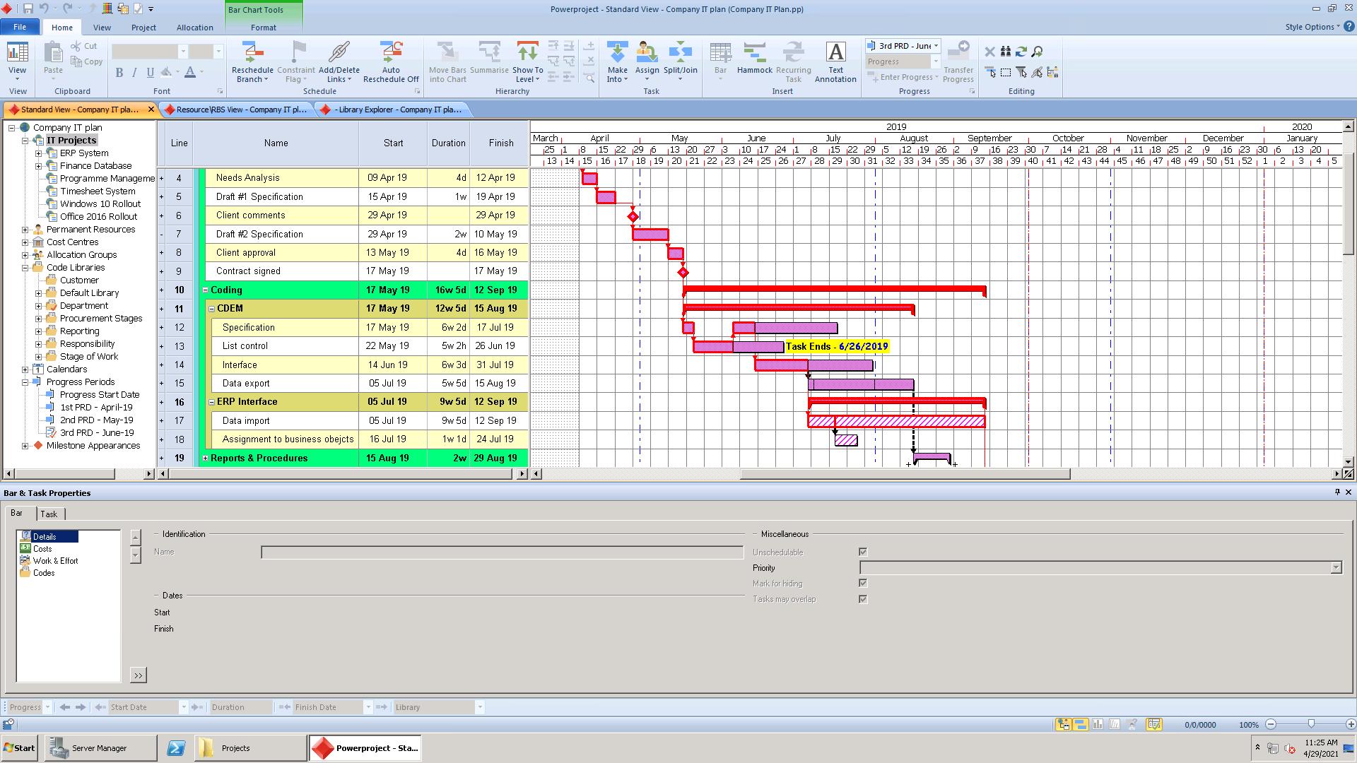 Screenshot of Asta Powerproject in action